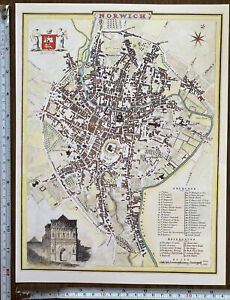 Old Antique Victorian map Norwich, England: early 1800's Reprint: Cole Roper
