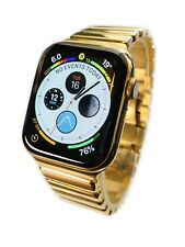 24K Gold Plated 44MM Apple Watch SERIES 4 With DIAMOND Polished Mirror Band