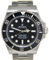Rolex NEW Submariner No Date Steel Black Ceramic 41mm Watch Box/Papers 124060