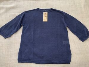 Brand New Muji French Linen 3/4 Sleeve Blue Blouse