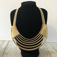 Necklace Gold Tone Cleopatra Style Snake Chain Statement Runway Metal Power
