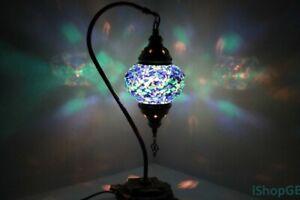 Turkish Blue Colour Moroccan Mosaic Handmade Glass Light Desk Table Lamp