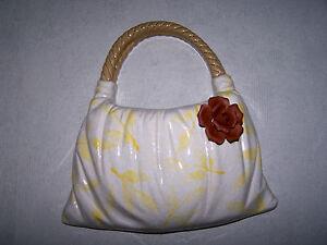 Designer Vase  * Handtache mit gelben Blättern und brauner Rose *
