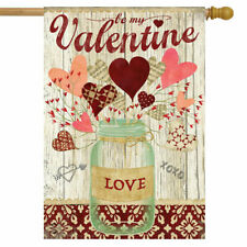 F92 VALENTINE'S DAY  LOVELY HEARTS HOUSE FLAG 28X40 BANNER * FREE SHIPPING *