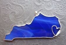 Kentucky State Stained Glass Blue Ornament or Window Sun Catcher Handmade Signed