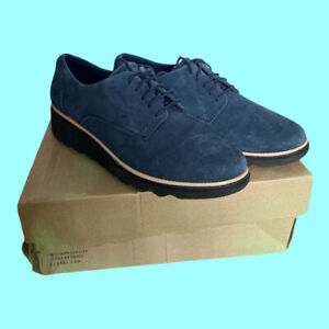 CLARKS Sharon Noel Womens Casual Lace Up Wedged Shoes Blue Suede Size UK 5 EU 38