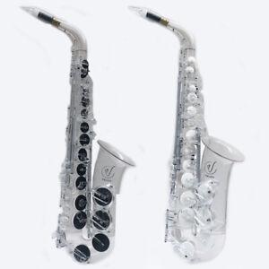 Vibrato Saxophone A1 SIII Alto Polycarbonate Clear Transparent Black White Pads