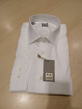 NEW $250 IKE BEHAR Mens Dress SHIRT 17.5 34 35 white Made in USA SLIM BC GOLD