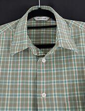 "ROBERTO CARLO Men's Shirt - Green Check Short Sleeve - Size: L (16"") Cotton"