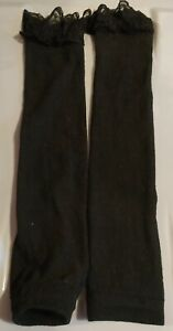 Black Leg Warmers With Lace Detailing