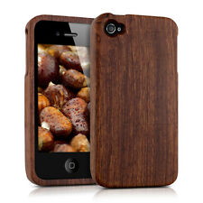 WOOD COVER FOR APPLE IPHONE 4 4S ROSEWOOD DARK BROWN CASE BACK HARD NATURAL