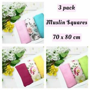 ✅ 3Pack Large Printed Muslin Squares Baby Cloth Reusable Nappy Bibs Wipes Gift
