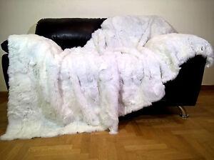 Luxury Real White Rabbit Throw Blanket
