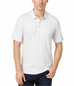 Weatherproof Mens Speckled Rugby Polo Shirt, White, Large