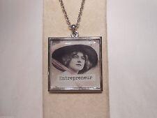 Vintage Photo 2 Sided Pendant Necklace ENTREPRENEUR Help Women Get Ahead of Men