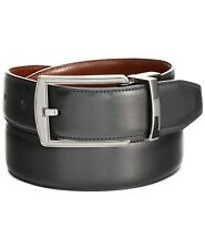 Perry Ellis Mens Leather Reversible Feather Stitch-Edge Belt, Black/Brown,Sz 34