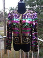 M.J. Carrol Jacket Cardigan Silk Pink, Purple, Green Black & Gold Sequin MED M
