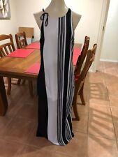 Beautiful Black/White Stripy  Long Sleeveless Dress Size14  Portmans Lined
