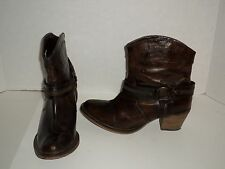 Dingo DI 681 Chocolate Leather Womens Fashion Zip Harness Boots Size 10 Nice
