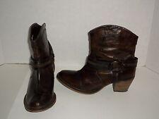 Dingo DI 681 Chocolate Leather Womens Fashion Zip Harness Boots Size 10 Nice