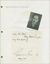 Rudolph Elie - Autograph Note Signed 03/1952