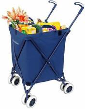 Folding Shopping Utility Cart Water Resistant Heavy-Duty Swivel Wheels 120 Lb