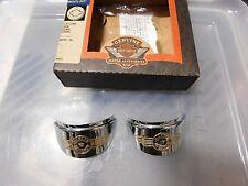 Harley Davidson 68104-96 Chrome Flat Lens Turn Signal Visors  (Fat Bot Logo)
