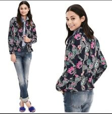 $148 Banana Republic Women Floral Bird Print Drapey Navy Zip Bomber Jacket Sz XL