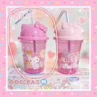 SANRIO Hello Kitty BENTO Plastic Straw Cup with Lid Resin KAWAII F/S