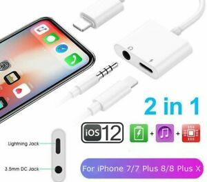 FOR iPhone 12 11 Pro Max X 8 to 3.5mm AUX Headphone Jack Adapter Audio Splitter