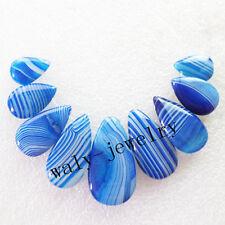 9pcs Intriguing Blue Onyx Agate Teardrop Pendant Bead Set Q0109797