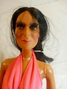 Vintage Mego Cher Doll Pink Gown  Long Lashes