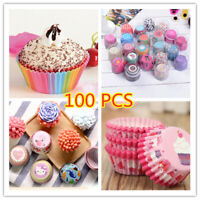 100pcs High Quality Rainbow Color  Paper Cupcake Cases Muffin Cake Baking Cup