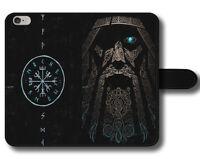 Vikings Gods Mythology Runes Norse Compass Magnetic Leather Phone Case Cover