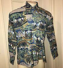 Vtg 60s 70s Kmart SATURDAY NIGHT FEVER Mens XL Mod Disco POLYESTER button shirt