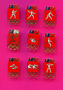 1984 OLYMPIC PIN RED PICTOGRAM PINS LOT #1 PICK A PIN 1-2-3- BUY ALL PINS 9 PINS