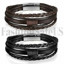 Men Women Braided Leather Bracelet Handmade Wristband Bangle Magnetic Buckle 8""
