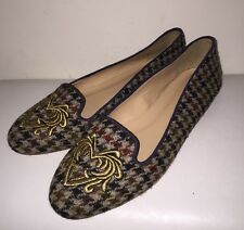 J Crew Sophie Embroidered Houndstooth Loafers Size 7.5 Style# A9755 New