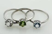 3x Damen-Ringe in 925er Silber mit Peridot weißen und blauen Topas in Gr. 56