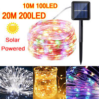 100-200 Led Solar Power Fairy Light String Lamp Party Xmas Deco Garden Outdoor