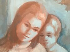 """ESTHER RAHIM Oil Painting """"Sister & Brother""""-Signed                        *1173"""