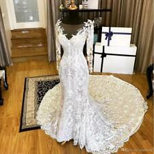 Luxury Wedding Dress Long Sleeves Lace White/Ivory Bridal Gowns Custom Made NEW