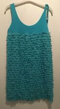 ONE SIZE OR 12 TURQUOISE BLUE FRILL DRESS IBIZA/CHELSEA/SUMMER/HOLIDAY/TOWIE/GYM