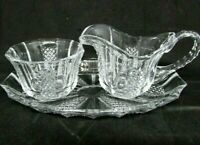 Vintage Pressed Glass, Panel and Crosscut CREAMER and SUGAR with Under Plate