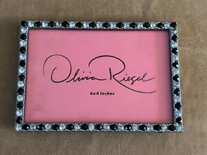 """Olivia Riegel crystal black clear table top picture photo frame 6 x 4"""" vintage"""