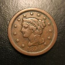 1850 Braided Hair Large Cent VF Very Fine Coronet Late Date