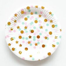 Party :  Paper Plate Star Polka Dot Gold Stamping Party Needs 10 pcs