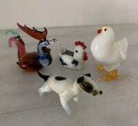 Handmade Vintage Glass Miniature Lot Czech Roosters Hen Dog Lamp working