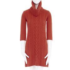 MAX & CO MAX MARA 100% wool orange cable knit turtleneck sweater dress S