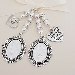 """Wedding Bouquet charm,  Double Silver Locket """"always in my heart"""" """"dad"""" charms"""